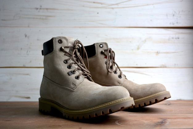 Male and female leather boots authentic