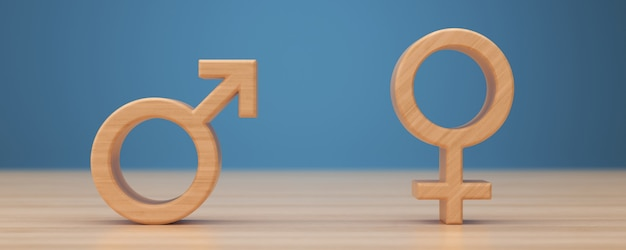 Male and female sex symbols 3d render