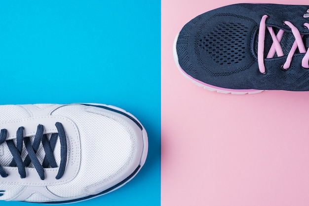 Male and female sport shoes