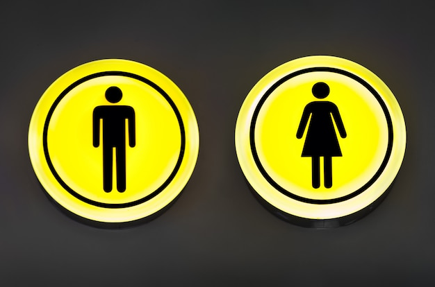 Male, female toilet, restroom sign. man and woman equality concept.