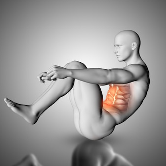 Male figure doing crunch exercise with stomach muscles highlighted