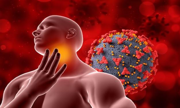 목 통증이있는 남성 그림