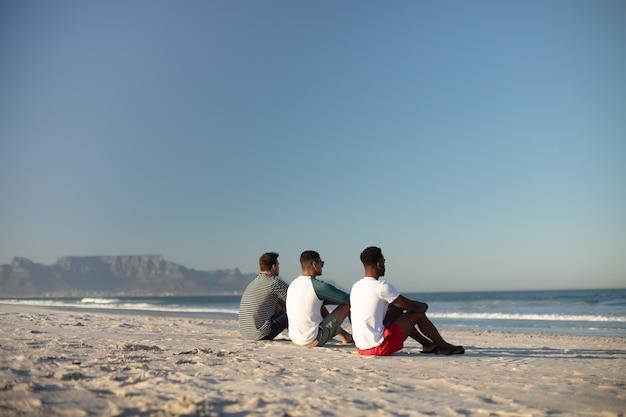 Друзья мужского пола, отдыхающие вместе на пляже