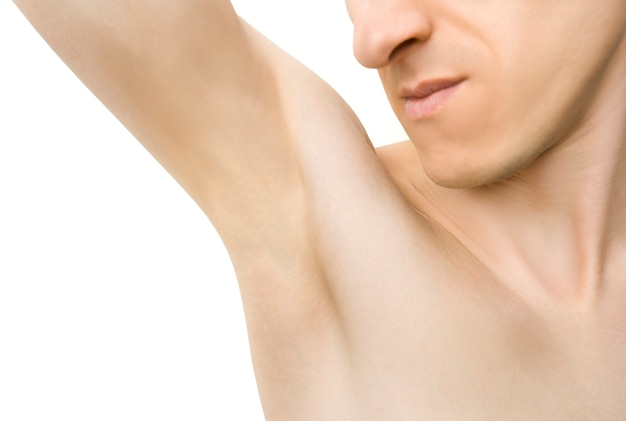 Male hair removal concept. laser hair removal.