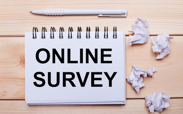 Male hand activating an online survey button on virtual screen.