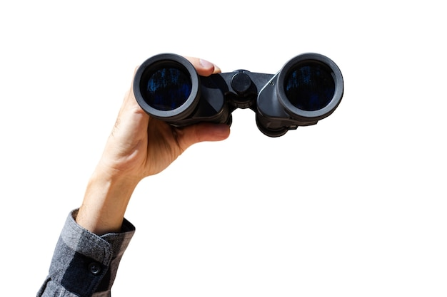 Male hand are holding binoculars on white isolated