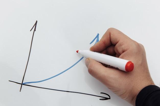 白い背景で隔離のチャートを描く男性の手。