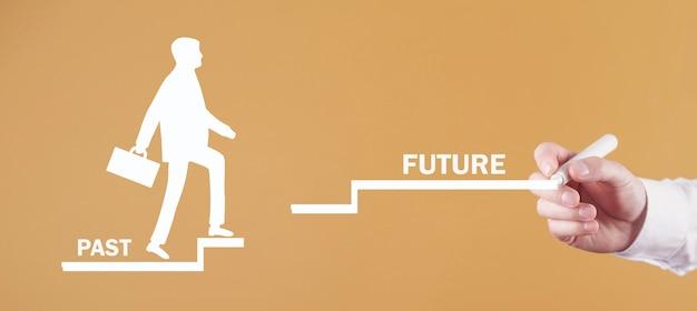 男性の手は、人間のシンボルが過去から未来の階段に登るのを描きます。