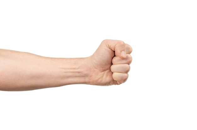 Male hand fist. males hand with a clenched fist isolated on white background