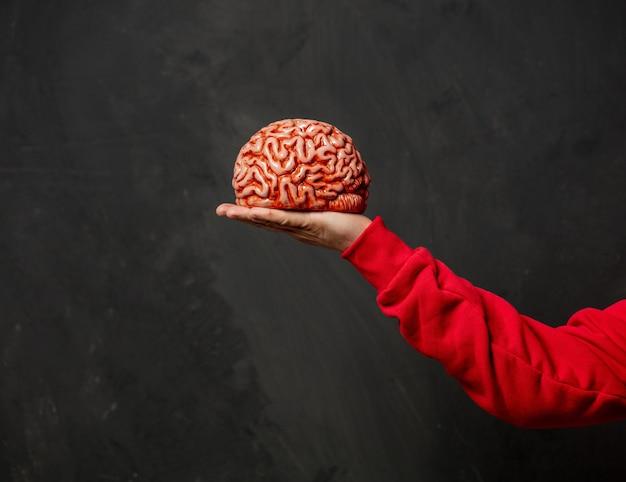 Мужская рука держит человеческий мозг на темной стене