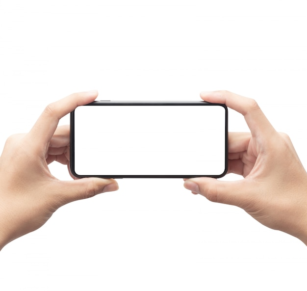 Male hand holding the black smartphone with blank screen isolated on white background with clipping path.
