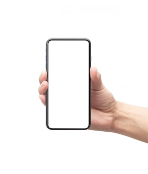 Male hand holding the black smartphone with blank screen isolated