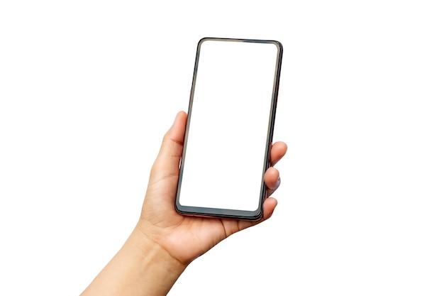 クリッピングパスと白い背景で隔離空白のスマートフォンを持っている男性の手