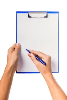 Male hand holding folder for documents