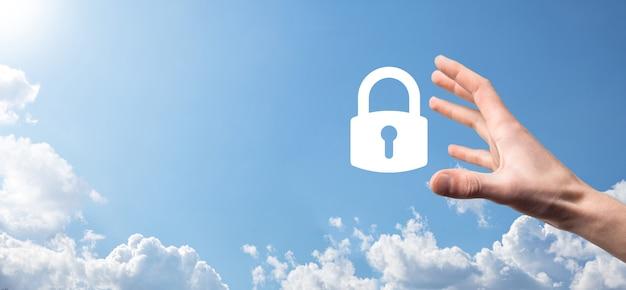Male hand holding a lock padlock icon