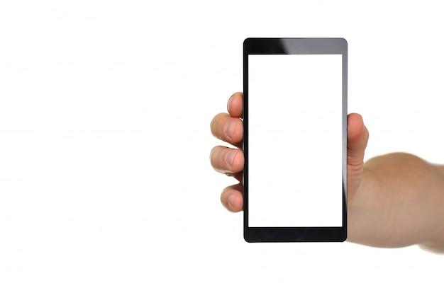 白で隔離の携帯電話を持っている男性の手