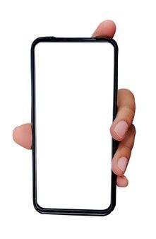 남성 손을 잡고 스마트폰, 흰색 절연입니다.