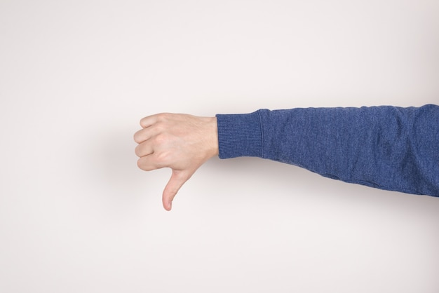 Male hand making finger down isolated