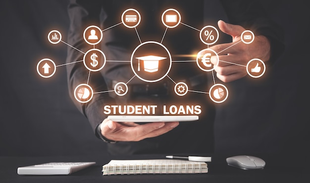 Male hand pointing in student loans.