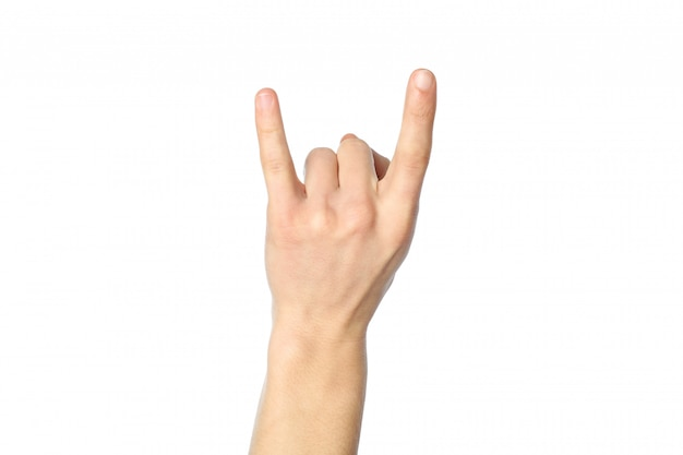 Male hand showing rock sign, isolated on white background. gestures