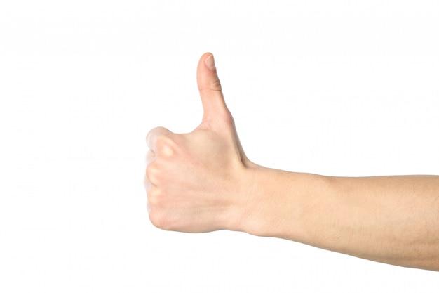 男性の手の親指のアップ、白い背景で隔離