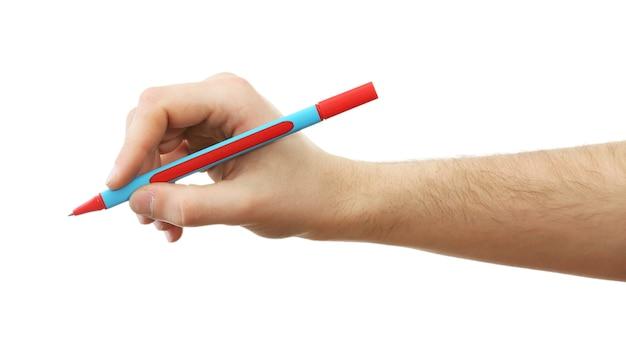 白で隔離のペンと男性の手