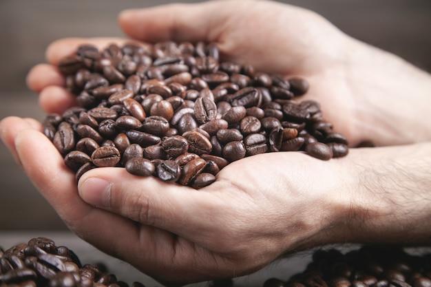 コーヒー豆を保持している男性の手。