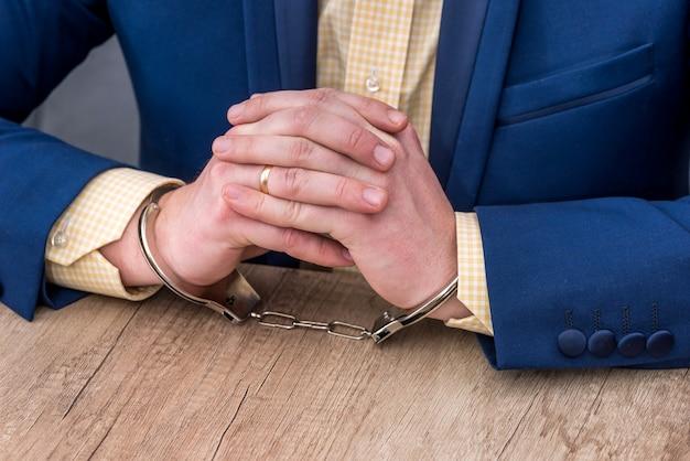 木製のテーブルの手錠で男性の手