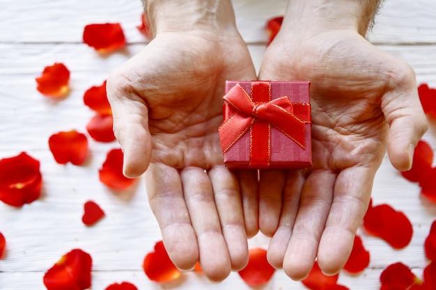 Мужские руки с подарочной коробке и красные лепестки роз. день святого валентина