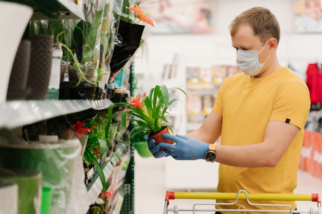Male holds potted plant, makes shopping in big department store, wears disposable face mask and rubber gloves