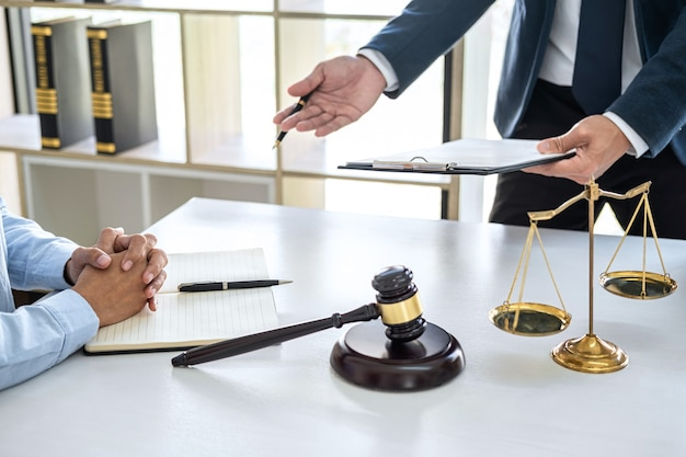 Male lawyers and professional businesswoman working