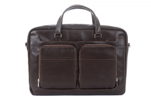 Male leather expensive briefcase on a white background