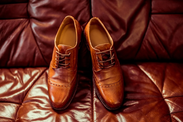 Male luxury brown leather shoes