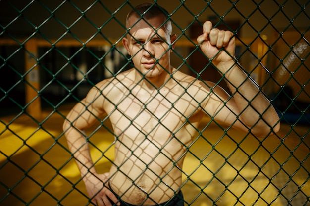 Male mma fighter standing at the grid in a cage in gym.