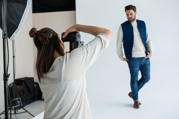 Male model posing for photoshoot