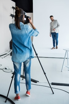 Male model posing for a photoshoot