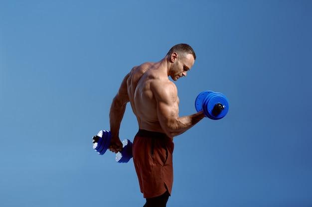 男性の筋肉の運動選手はスタジオでダンベルを保持します
