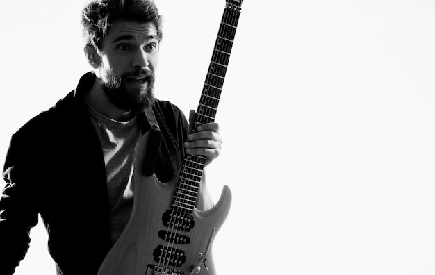 Male musician guitar artist modern hobby style. high quality photo