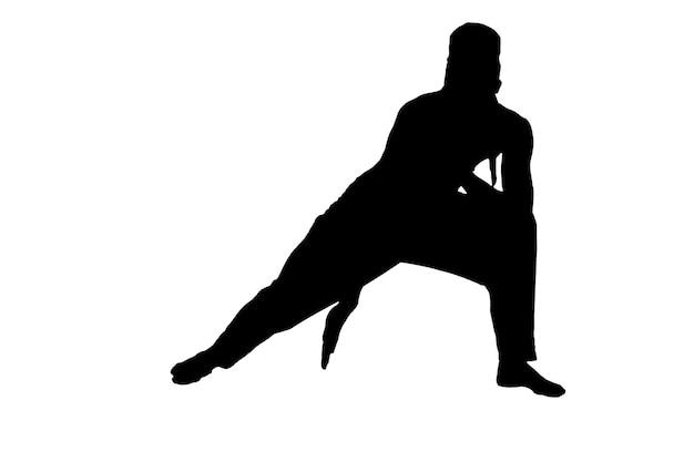 Силуэт мужского ниндзя на белом фоне