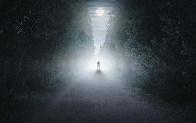 Male person walking alone in misty forest fairytale