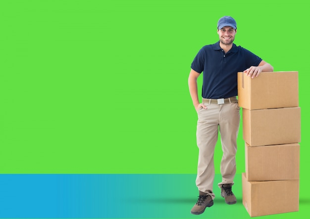 Male stack service shipping cheerful