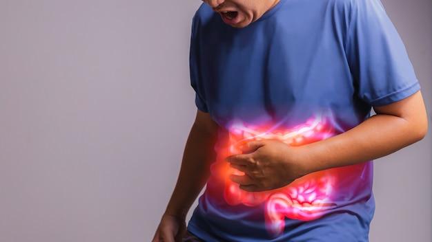 Рентген концепции мужской боли в животе с здравоохранения и медицины.