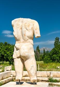 Male torso statue at aphrodisias, in turkey
