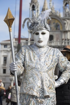 Male in a traditional venice mask during the world-famous carnival