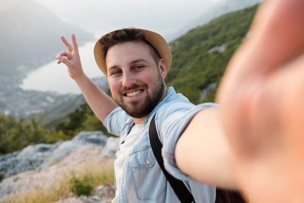 Male traveler in montenegro outdoors