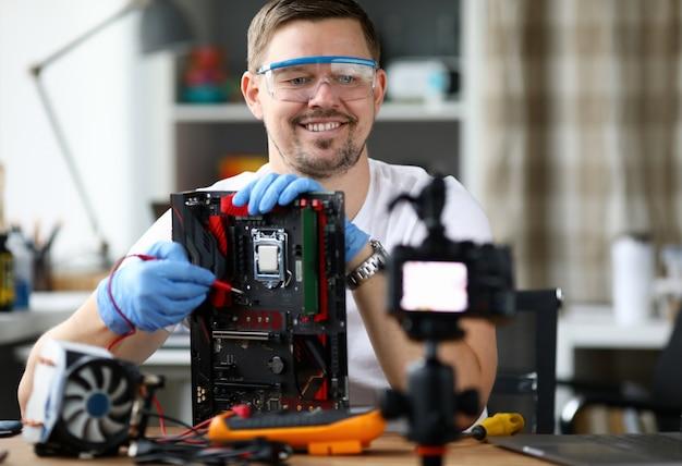 Male vloger make online broadcast portrait