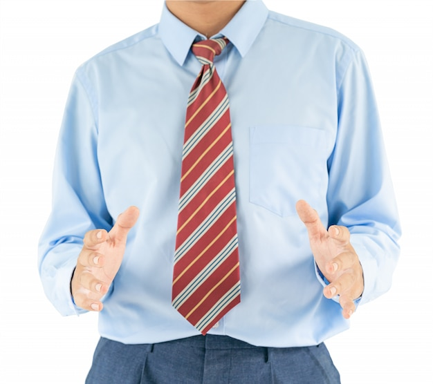 Male wearing blue shirt reaching hand out with clipping path