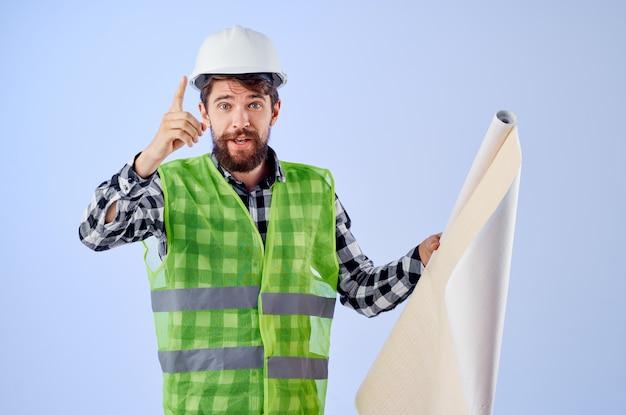 男性労働者建設作業デザイン職業青い背景
