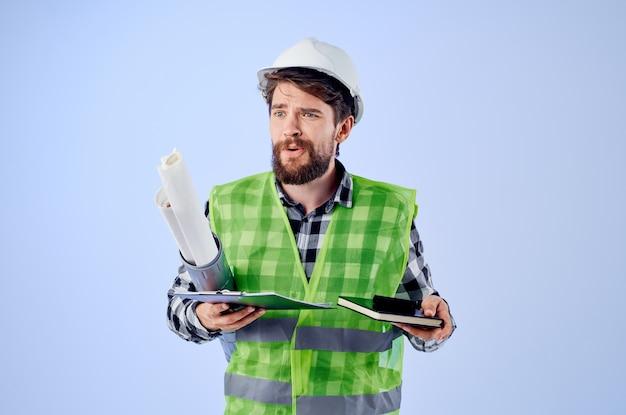 남성 노동자 건설 작업 디자인 직업 고립 된 배경