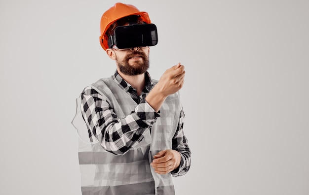 Male worker construction work technique design isolated background